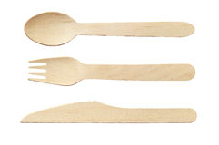 Cuchara, cuchillo y bifurcación de madera Fotografía de archivo