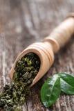 Cuchara de hojas de té verdes secadas en la tabla de madera Imagenes de archivo