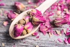 Cuchara de madera con los brotes y los pétalos color de rosa del té Foto de archivo libre de regalías