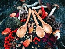Cuchara de madera tallada en la madera, artesanía en madera, colores del otoño Imagenes de archivo