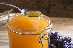 Cuchara del cierre de la miel para arriba Fotografía de archivo