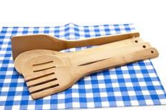 Cuchara del cocinero con el mantel Imagen de archivo libre de regalías