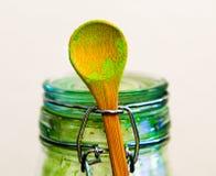 Cuchara del té verde de Matcha Imagenes de archivo