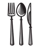 Cuchara, fork y cuchillo Foto de archivo libre de regalías
