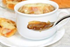 Cuchara macra de la sopa francesa DOF bajo de la cebolla Imagenes de archivo