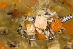 Cuchara por completo de la sopa de pollo y del arroz Fotografía de archivo