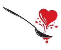 Cuchara y corazón Foto de archivo libre de regalías
