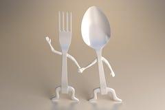 Cuchara y fork Imagen de archivo libre de regalías