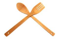 Cuchara y fork de madera Fotos de archivo