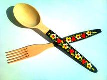 Cuchara y fork en un fondo blanco Fotografía de archivo
