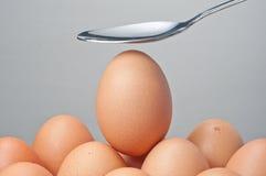 Cuchara y huevo Imagen de archivo libre de regalías