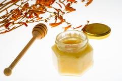 Cuchara y miel en el tarro de cristal en el fondo blanco Imagen de archivo