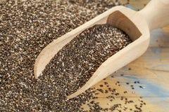 Cucharada de las semillas del chia Foto de archivo libre de regalías