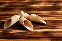 Cucharada de madera vacía Imágenes de archivo libres de regalías