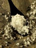 Cucharada de sal del mar de Fleur de sel del rande de Gu Fotografía de archivo