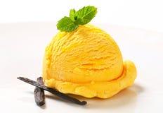 Cucharada del helado amarillo foto de archivo libre de regalías