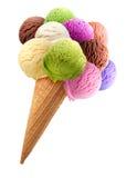 Cucharadas del helado con el cono Fotos de archivo libres de regalías
