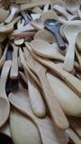 Cucharas de madera Imágenes de archivo libres de regalías