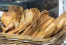 Cucharas de madera Fotos de archivo