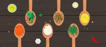 Cucharas de madera con las especias y las hierbas en la madera Foto de archivo libre de regalías