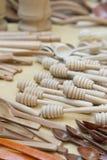 Cucharas de madera hechas a mano Imagen de archivo libre de regalías