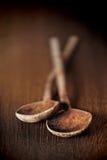 Cucharas de madera viejas Imagen de archivo libre de regalías