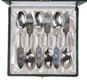 Cucharas de plata Imagenes de archivo