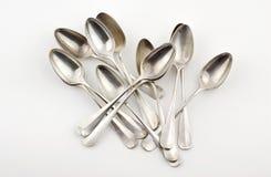 Cucharas de plata Imágenes de archivo libres de regalías