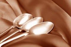 Cucharas de plata viejas Imagen de archivo libre de regalías