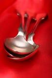 Cucharas de plata viejas Foto de archivo libre de regalías