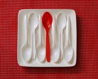 Cucharas plásticas Imagen de archivo