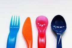 Cucharas y bifurcación del color Foto de archivo libre de regalías