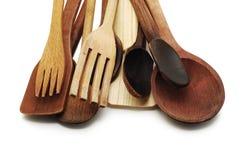Cucharas y forkes de madera Imagen de archivo libre de regalías