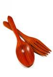 Cucharas y forkes de madera de la cocina Imagen de archivo libre de regalías