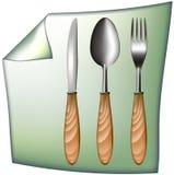 Cucharee el cuchillo de la fork con la maneta de madera Imagenes de archivo