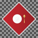 Cucharita de café de oro con una placa del platillo en servilleta roja Ajuste de los cubiertos y de la tabla del plato Illustraio Imágenes de archivo libres de regalías