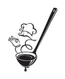 Cucharón y vapor de sopa Fotos de archivo libres de regalías