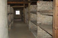 Cuchetas del ladrillo en Auschwitz II - Birkenau Fotos de archivo
