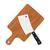 Cuchilla, cuchillo afilado del ` s del carnicero para tajar la carne con la tabla de cortar ilustración del vector