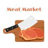 Cuchilla, cuchillo del ` s del carnicero con el filete, carne y tabla de cortar ilustración del vector