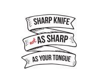cuchillo afilado tan agudo como su lengua stock de ilustración