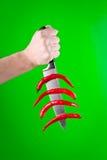 Cuchillo con las pimientas rojas Fotos de archivo libres de regalías
