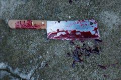 Cuchillo con sangre Imagen de archivo libre de regalías