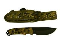 Cuchillo con una cuchilla de acero y una cubierta, aisladas en el fondo blanco fotos de archivo libres de regalías