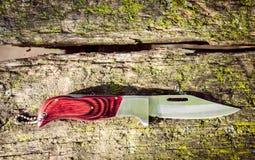 Cuchillo de caza usado en superficie de madera fotos de archivo libres de regalías