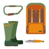 Cuchillo de caza y mochila para emigrar Stock de ilustración