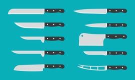 Cuchillo de cocina plano fijado con nombres de la firma cuchillos del vector Foto de archivo libre de regalías