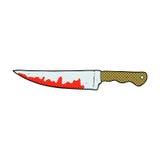 cuchillo de cocina sangriento de la historieta cómica stock de ilustración