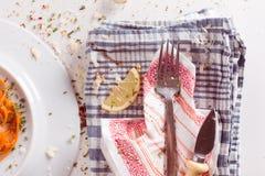 Cuchillo de la bifurcación y del queso Fotografía de archivo libre de regalías
