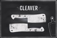 Cuchillo de la cuchilla Diseño del ejemplo de la tiza del bosquejo del vector Foto de archivo libre de regalías